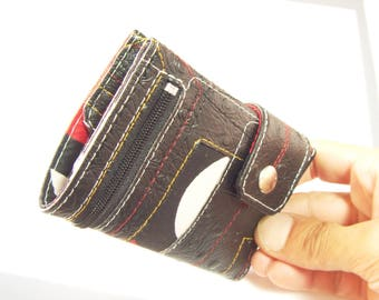 Black Wallet for woman, fun Wallet for womens, with coin pocket, small Wallet for Women, vegan wallet, portefeuille Femme, Samakaka Wallet