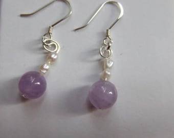 amethyst and pearls with silver findings ~ bell of the ball