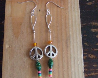 Hippy Peace~ all you need, are these earrings!  Swinging fun!