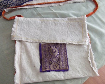Hippy Canvas and Indian Silk light weight bag~ Krishna delight!