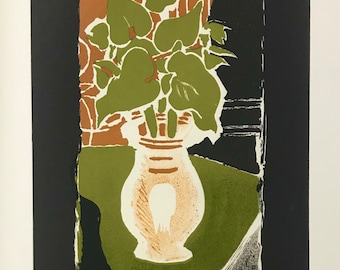 """GEORGES BRAQUE Lithographie 26.75/"""" x 16.75/"""" Lithograph 1973 Cubism Gray Yellow"""