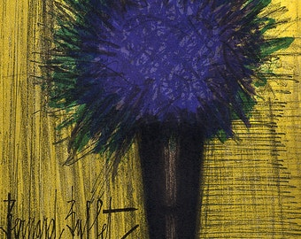 "Bernard Buffet ""The purple bouquet of flowers"" Original Lithograph printed 1968 -d"