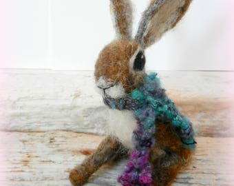 Needle Felt Brown Hare Sculpture with Hand Knitted Soft Wool Scarf, gift boxed - Made to Order