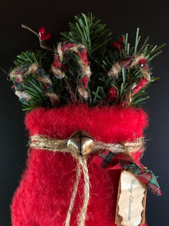 Christmas Tree Fillers.Primitive Red Mitten Christmas Tree Ornament Or Bowl Filler