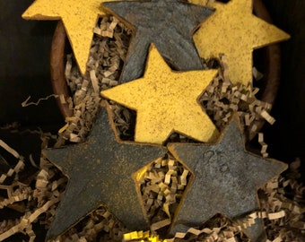 Primitive Americana Stars Bowl Fillers, Black and Mustard