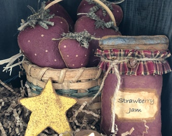 Primitive Strawberries and Jam Bowl Fillers / Ornies