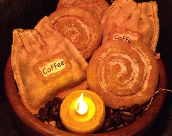 Primitive Coffee Beans and Cinnamon Buns Bowl Fillers