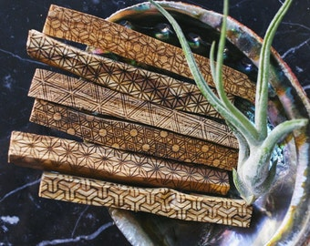 100 sticks of sacred geometry etched Palo Santo --Burning Man Gift / Wholesale price FREE domestic shipping
