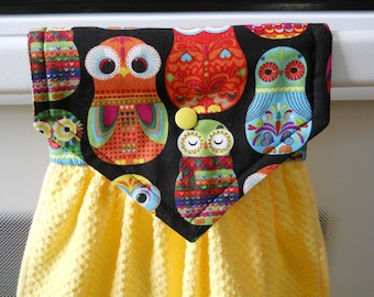 OWLS adorn this lovely yellow hanging  kitchen towel.