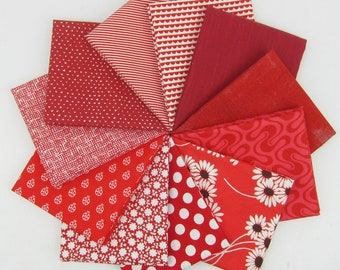 Candy Apple Red Fat Quarter Bundle - 11 Fat Quarters - 2.75 Yards Total