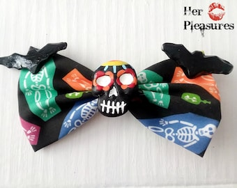 Day of the Dead SUGAR SKULL coffin skeleton Rockabilly bow
