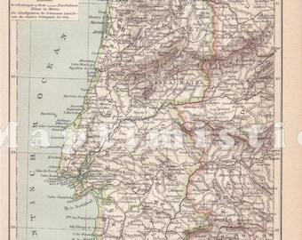 Portogallo Cartina Geografica Politica.Mappa Antica Lisbona Etsy