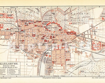 Map Of Germany Karlsruhe Baden.Karlsruhe Map Etsy