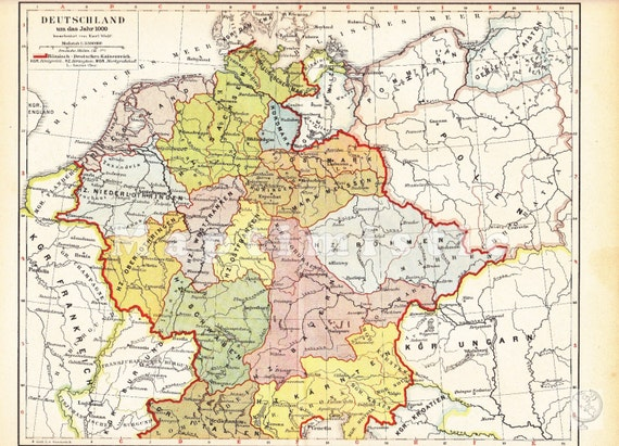 Holy Roman Empire Map 1000.1894 Territory Of The Holy Roman Empire In 1000 Original Etsy