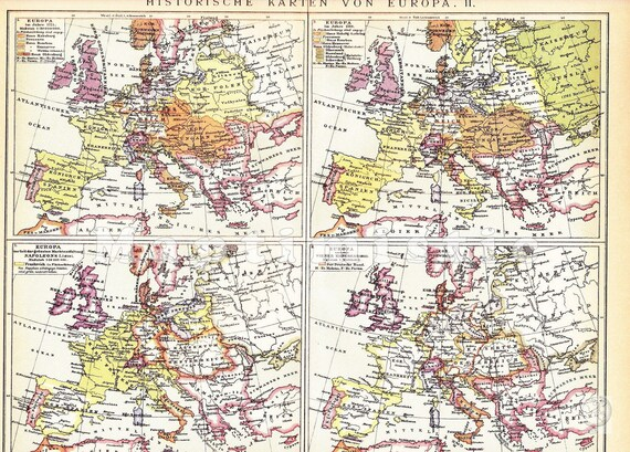 Europa Historische Karten Napoleon Wiener Kongress Lithographie 1894 Landkarte