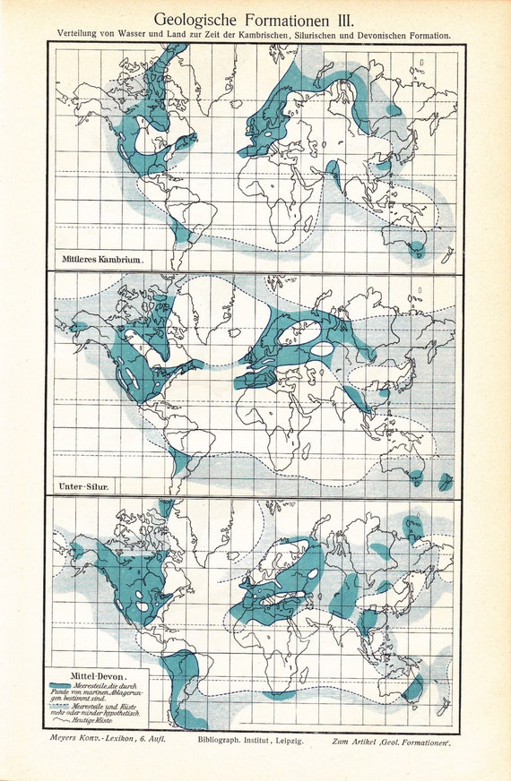 1903 Prehistoric Geological Formations Of The World Etsy
