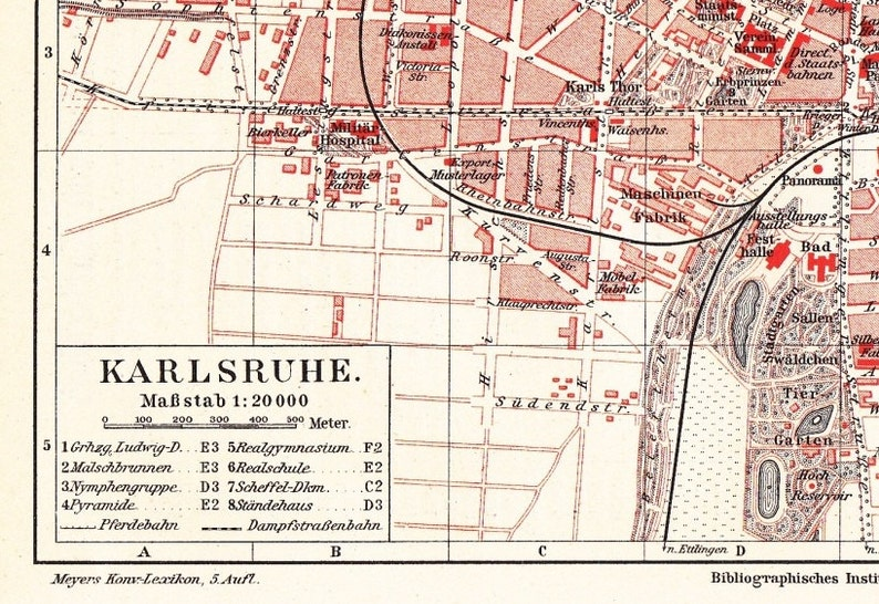 Map Of Germany Karlsruhe Baden.1895 City Map Of Karlsruhe Baden Wurttemberg Germany At The Etsy