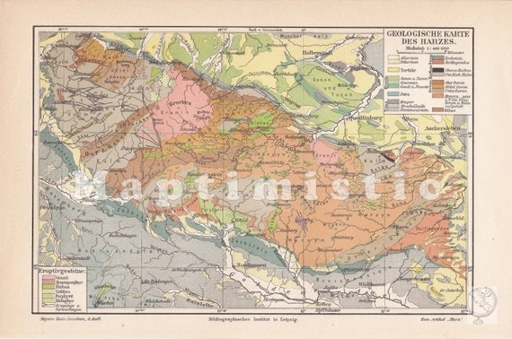 Lower Saxony Germany Map.1903 Geological Map Of The Harz Mountains Lower Saxony Etsy