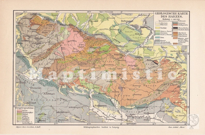 Map Of Germany Mountains.1903 Geological Map Of The Harz Mountains Lower Saxony Thuringia Germany In The 19th Century Original Antique Geographical Map