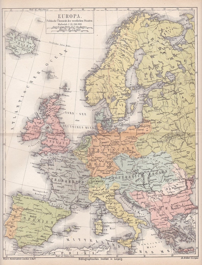1875 Political Map of Europe with Iceland Scandinavia and   Etsy