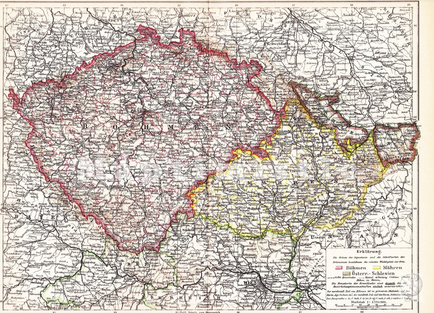 1898 Bohemia Moravia and Austrian Silesia in Central ...Silesia Map Europe