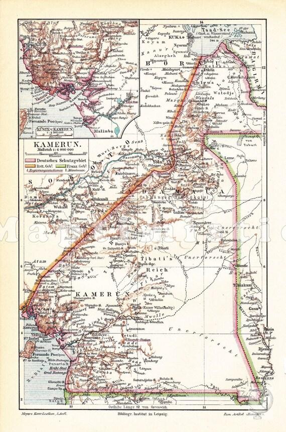 Alte historische Landkarte Kamerun Karte Lithographie 1909