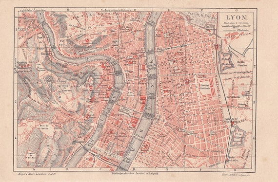 1887 City Map Of Lyon Or Lyons City Of Silk Weavers France Etsy