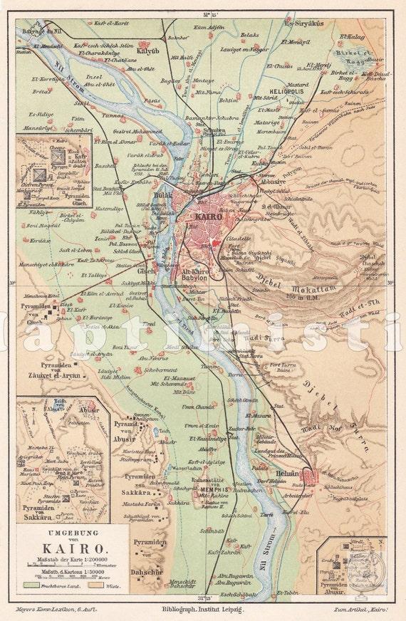 1908 Giza Plateau with the Pyramids Cairo Sra and Abu   Etsy Cairo Pyramids Map on