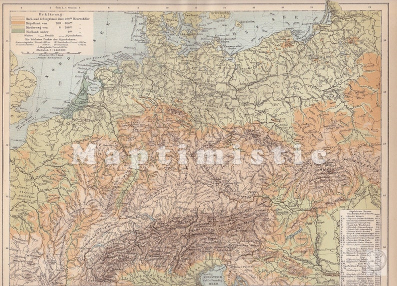Geographical Map Of Germany.1898 Physical Map Of Geography Of Germany Europe At The End Of The 19th Century Original Antique Geographical Map