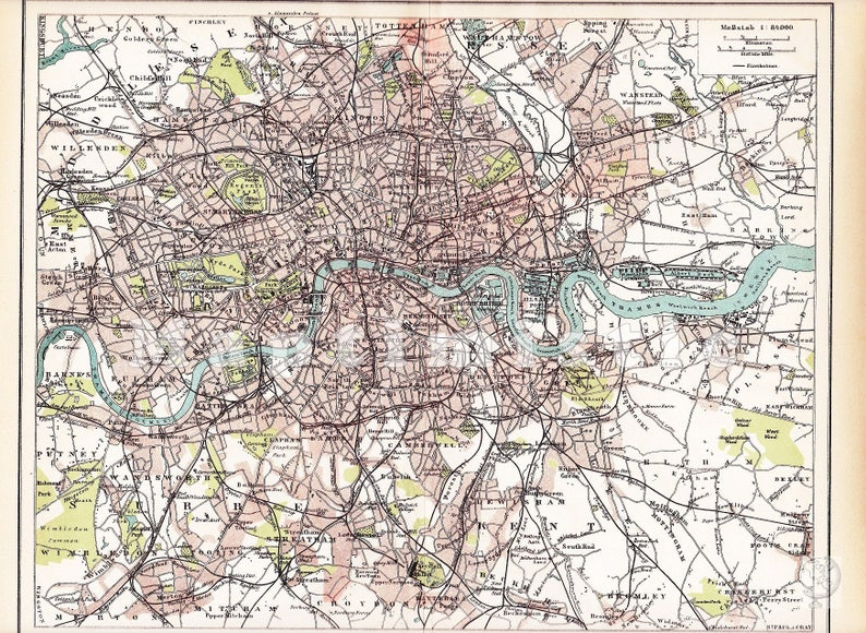 Map Downtown London.1895 Downtown Of London With The River Thames West End Fulham The City Hampstead At The End Of The 19th Century Original Antique Map
