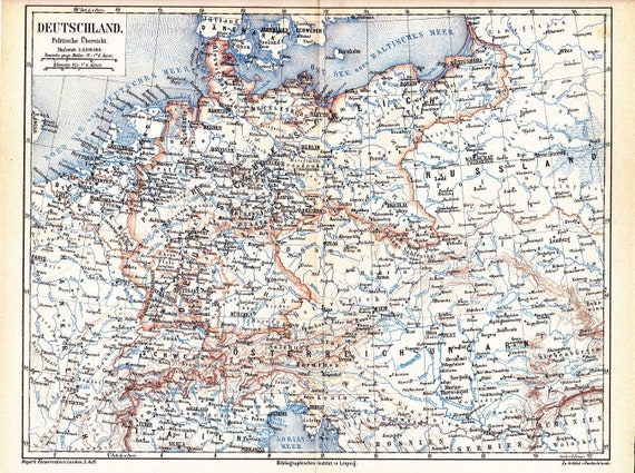 1874 Political Map of the German Empire with Switzerland and   Etsy