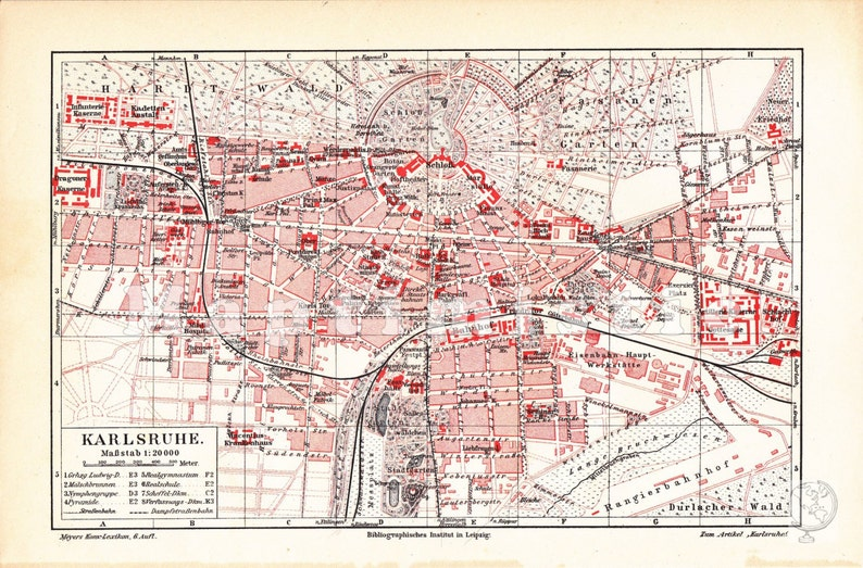 Karlsruhe Map Of Germany.1905 City Map Of Karlsruhe Baden Wurttemberg Germany At The Beginning Of The 20th Century Original Antique City Map
