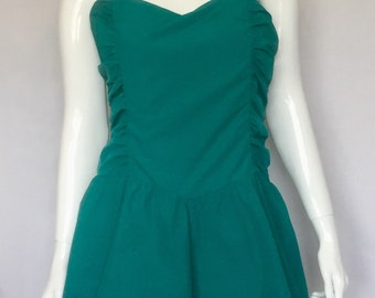 cd84d02f124 80 s Teal Ruffled Nylon Dress