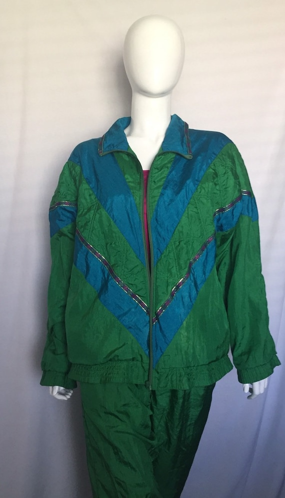 80's Turquoise and Green Windbreaker and Pants