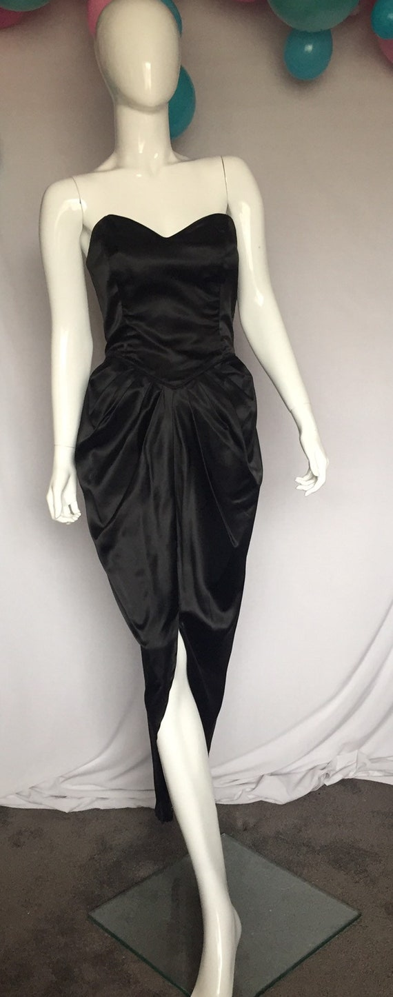 80's Black Fitted Dress with Tulle Bustle