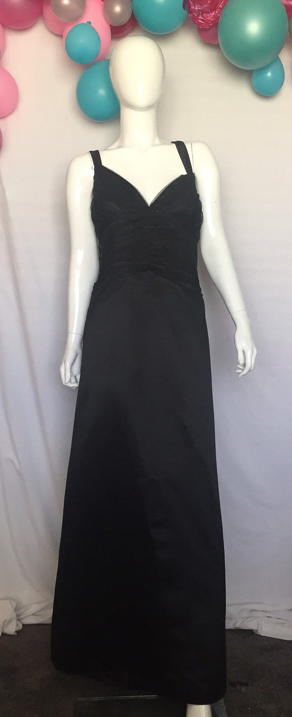 80's Long Black Prom Gown Size 18