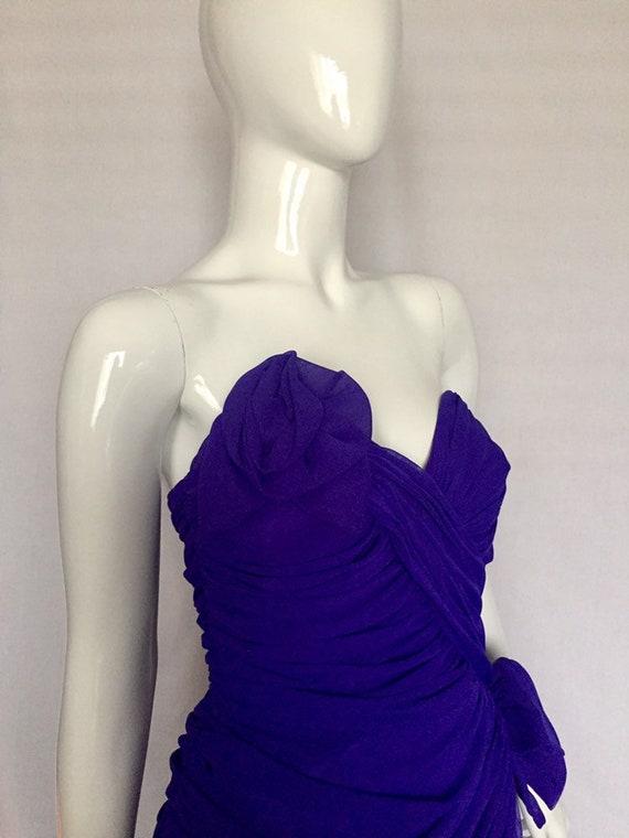 80's Lillian Rubin Purple Strapless Organza Ruched