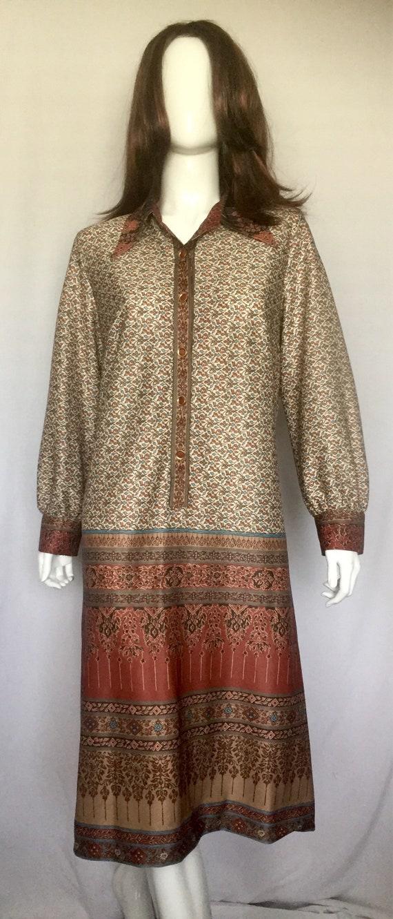 1970's Burnt Orange and Brown Shirt Dress - image 2