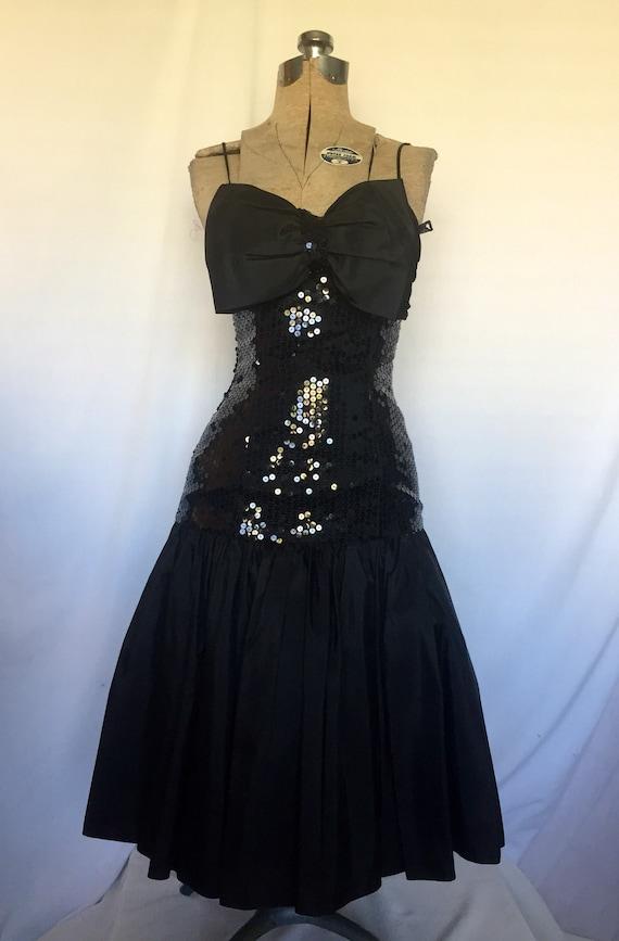 80s Vintage Black Sequin Prom Dress Etsy