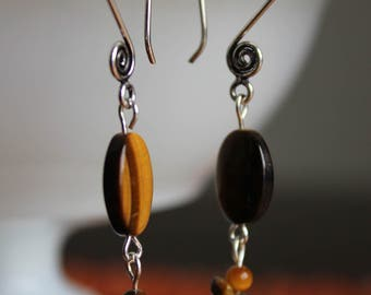 Tiger eye pendant earrings on silver french wires