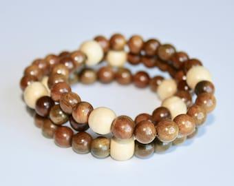Prayer bracelet, wood bead bracelet