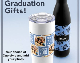 Personalized graduation photo insulated steel mug or water bottle in black or white  You add photo and  graduation caption photo cup