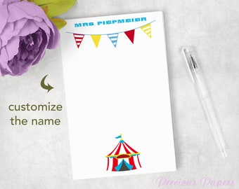 Baby Blue Dotted Circus Elephant Personalized 53 Page Note Pad