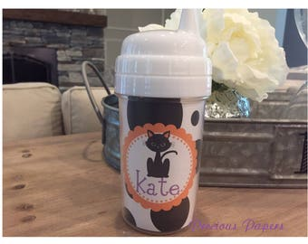 personalized kids halloween sippy cup cat sippy cup kids halloween cups halloween cat cup