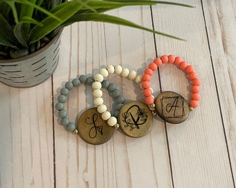 Personalized Wood Bead Stretch Bracelet with Disc for Ladies Women Laser Engraved