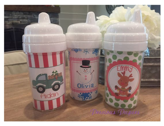 Personalized Christmas Sippy Cup Reindeer Kids Christmas Cups Rudolph
