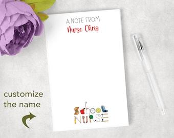 Personalized School Nurse Notepad  Nurses Note Pads School Nurse Gifts