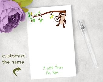 Custom monkey notepad  monkey theme classroom monkey notepad gift jungle theme