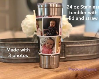 Personalized stainless steel photo tumbler with lid and staw - photo coffee cup, photo cups, photo gifts, photo coffee mug,