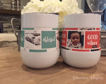Personalized photo insulated steel wine glass,insulated stemless steel wine with lid  Add your photo and caption perfect  Mothers Day gift